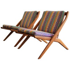 Pair of DUX Scissor Chairs by Folke Ohlsson Missoni or Jack Lenor Larsen Fabric