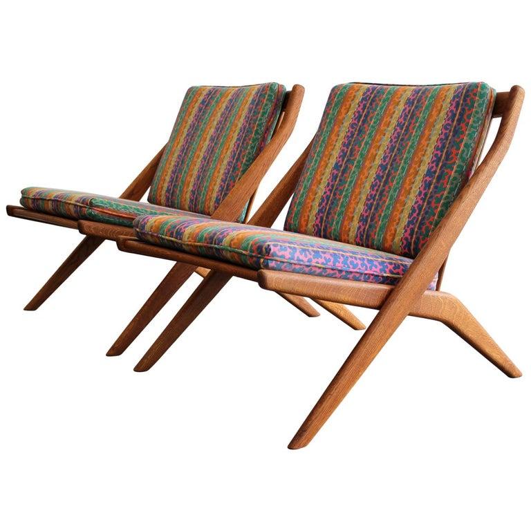 Pair of DUX Scissor Chairs by Folke Ohlsson Missoni or Jack Lenor Larsen Fabric For Sale
