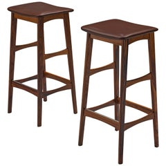 Pair of Bar Stools in Rosewood and Faux Leather by Johannes Andersen, 1950s