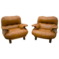 Pair of E. Cobianchi Italian Leather Armchairs by Insa, 1970s