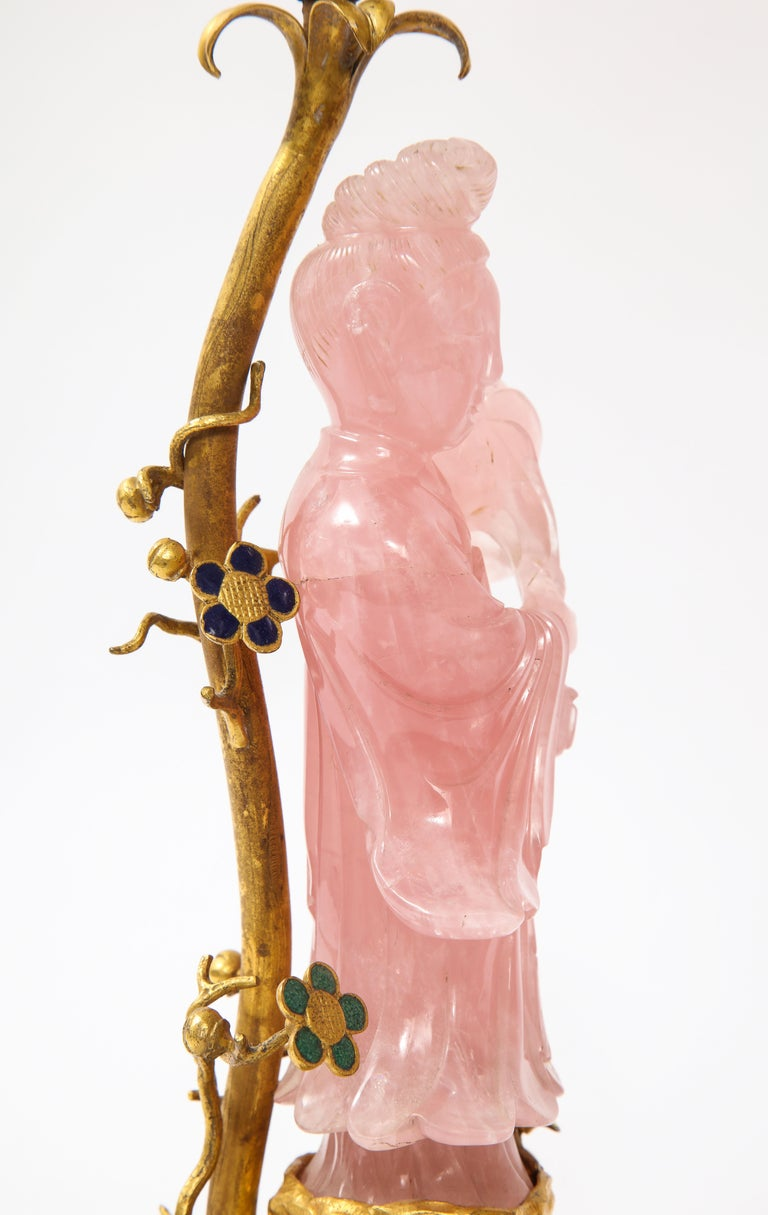 Pair of E. F. Caldwell & Co. Dore Bronze Mtd. Carved Rose Quartz & Enamel Lamps For Sale 5