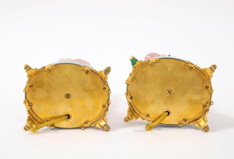 Pair of E. F. Caldwell & Co. Dore Bronze Mtd. Carved Rose Quartz & Enamel Lamps For Sale 12