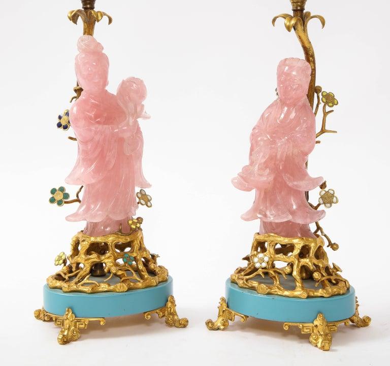 Louis XVI Pair of E. F. Caldwell & Co. Dore Bronze Mtd. Carved Rose Quartz & Enamel Lamps For Sale
