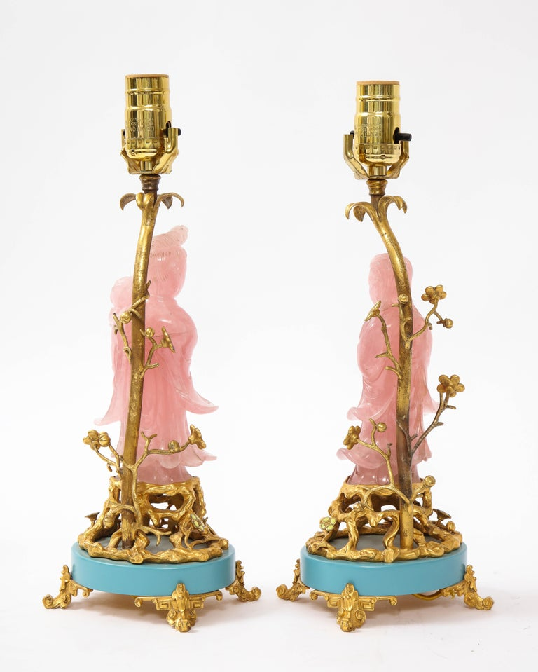 Hand-Carved Pair of E. F. Caldwell & Co. Dore Bronze Mtd. Carved Rose Quartz & Enamel Lamps For Sale