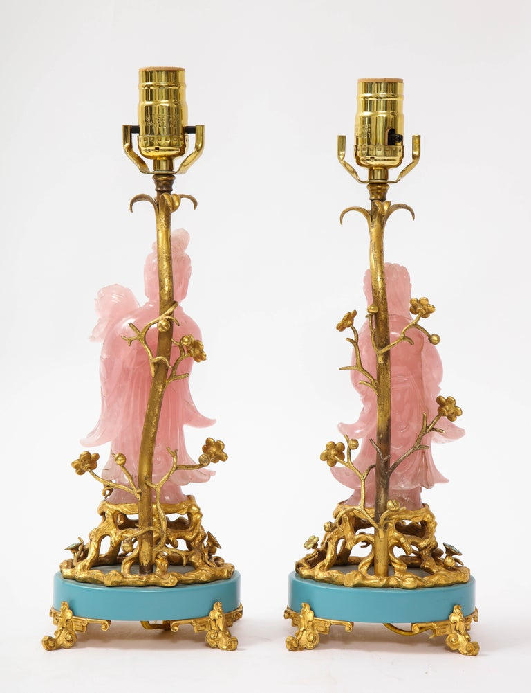 Pair of E. F. Caldwell & Co. Dore Bronze Mtd. Carved Rose Quartz & Enamel Lamps In Good Condition For Sale In New York, NY
