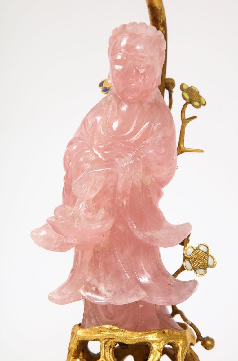 Pair of E. F. Caldwell & Co. Dore Bronze Mtd. Carved Rose Quartz & Enamel Lamps For Sale 1