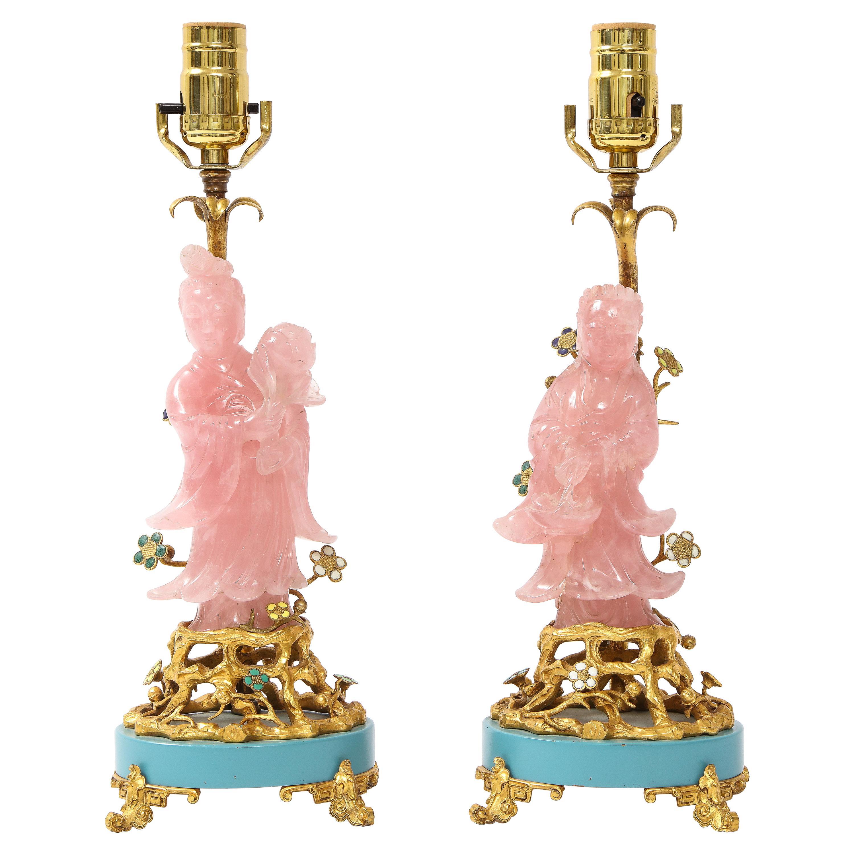 Pair of E. F. Caldwell & Co. Dore Bronze Mtd. Carved Rose Quartz & Enamel Lamps