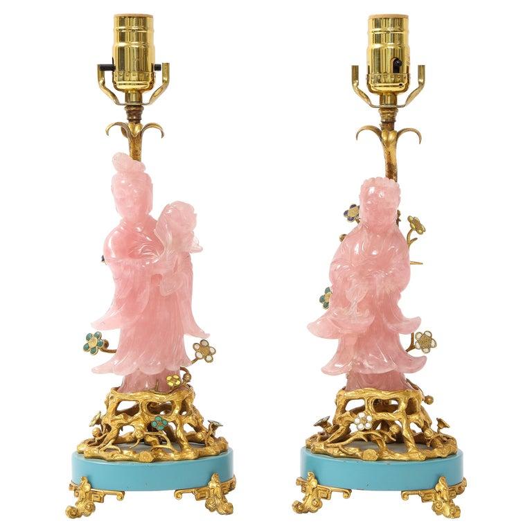 Pair of E. F. Caldwell & Co. Dore Bronze Mtd. Carved Rose Quartz & Enamel Lamps For Sale