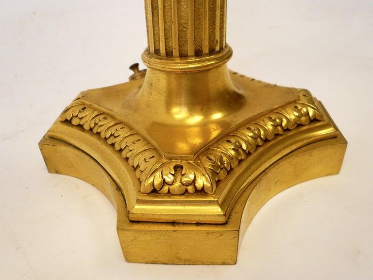 Georgian Pair of E. F. Caldwell Gilt Bronze Robert Adam Style Candelabra Form Lamps For Sale