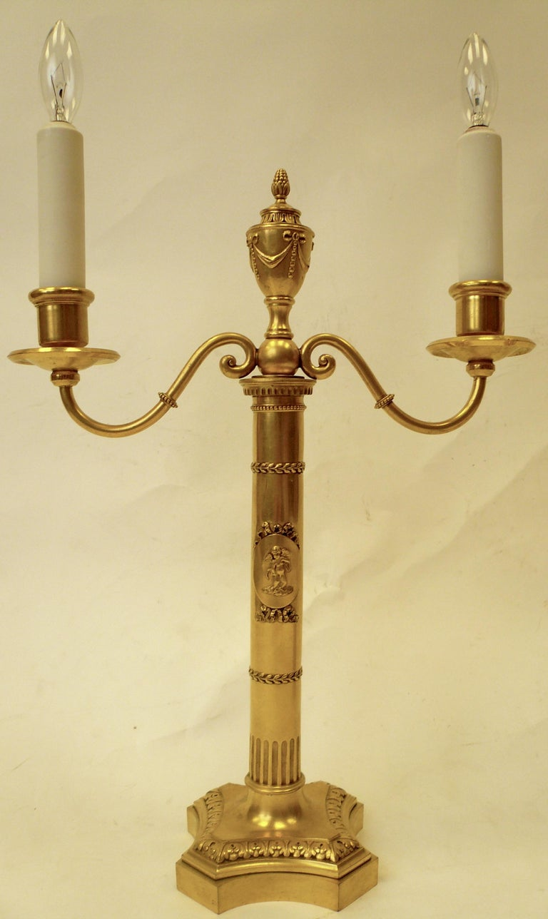 Pair of E. F. Caldwell Gilt Bronze Robert Adam Style Candelabra Form Lamps For Sale 1