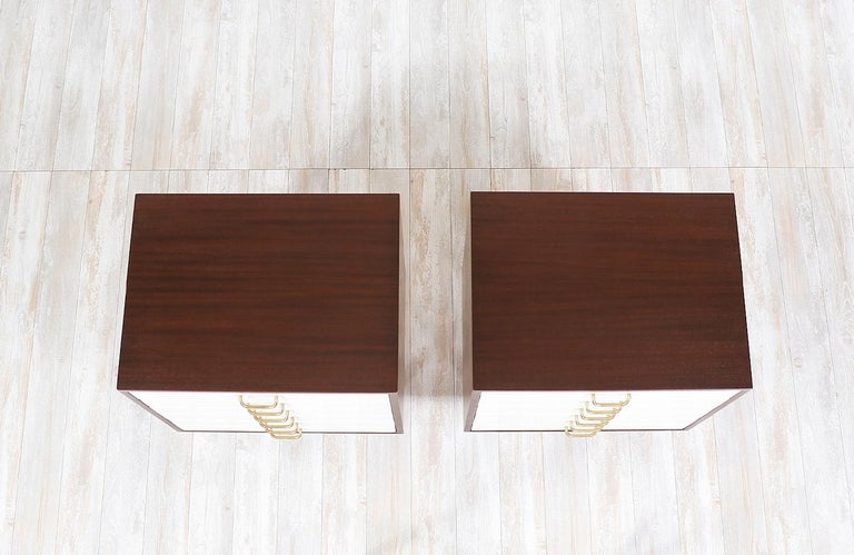 Brass Pair of E. Gomme Two-Tone Lacquer Nightstands for G-Plan For Sale
