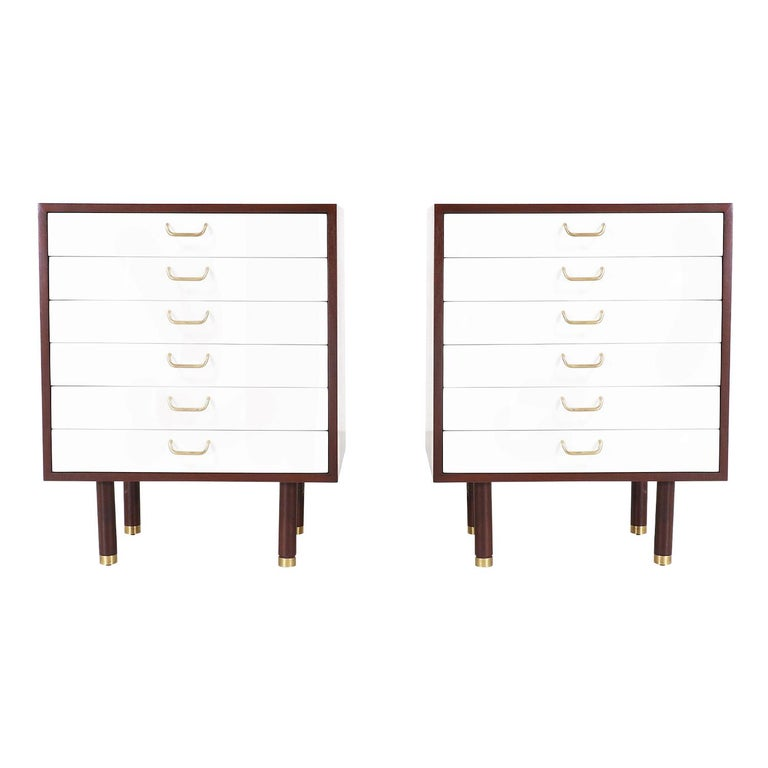 Pair of E. Gomme Two-Tone Lacquer Nightstands for G-Plan For Sale
