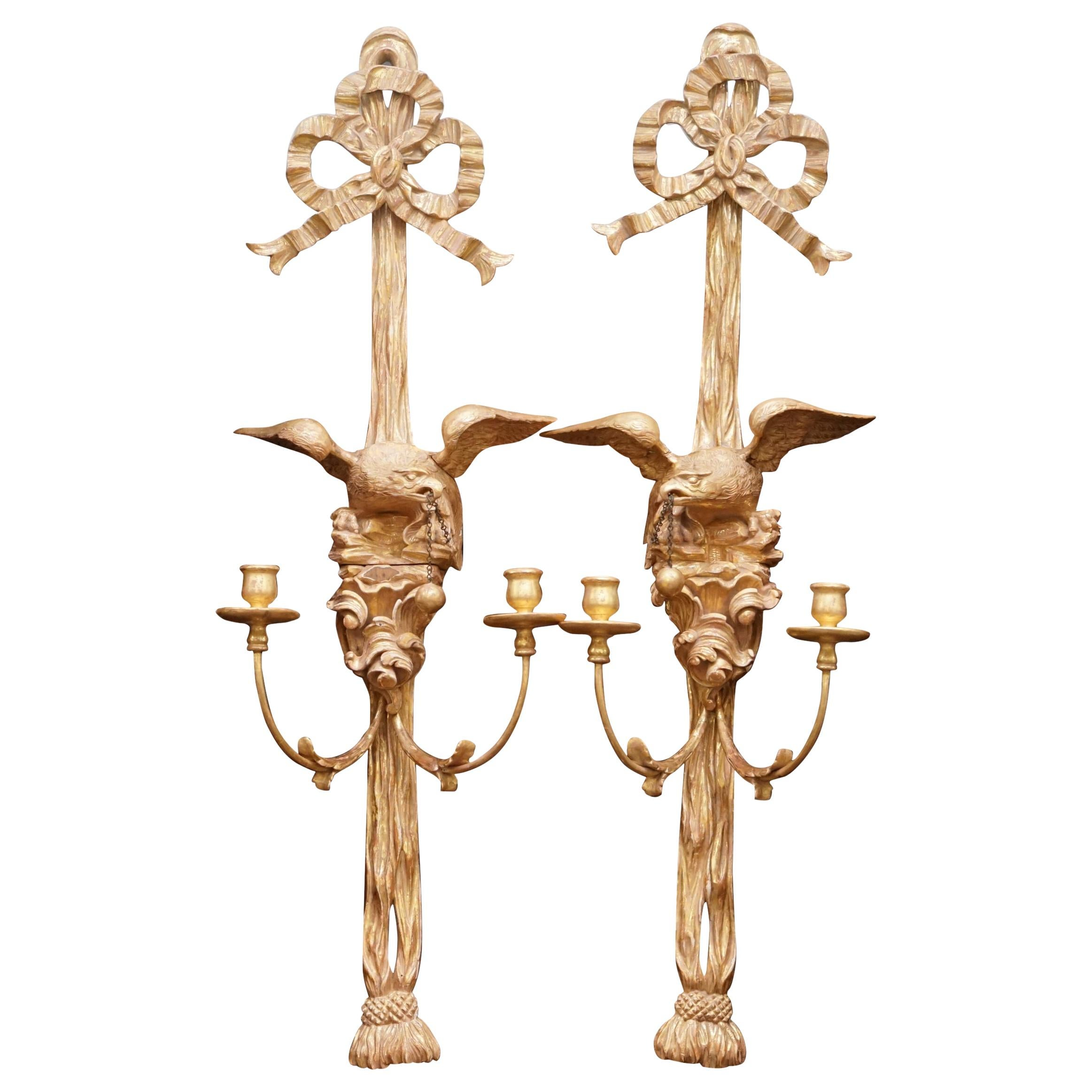 Pair of Eagle Carved Regency Empire Giltwood Twin Light Wall Appliques Sconces