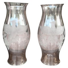 Pair of Eagle Motif Etched Glass Hurricane Shades