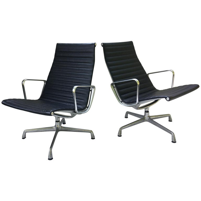 Pair of Eames Aluminum Group Leather Lounge Chairs For Sale