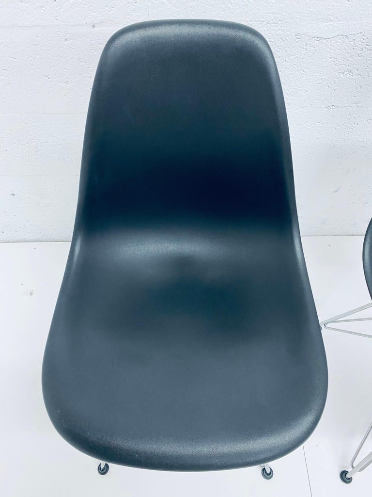 American Pair of Eames Black Molded Plastic Side Chair for Herman Miller For Sale