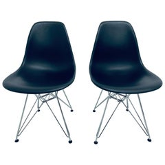 Pair of Eames Black Molded Plastic Side Chair for Herman Miller