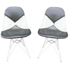 Pair of Eames DKR-2 Bikini Wire Dining Chairs
