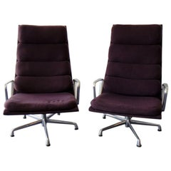 Pair of Eames for Herman Miller Swivel Armchairs Original Purple Fabric