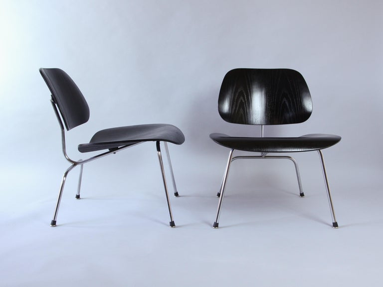 Swiss Pair of Eames LCM Chairs by Contura in Black and Chrome
