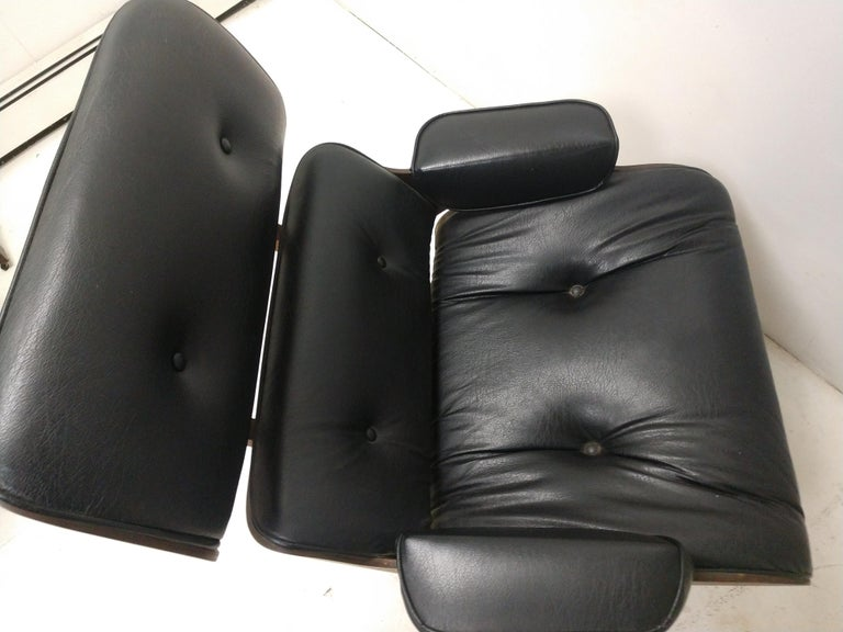 American Pair of Mid Century Eames Style Lounge Chairs & Ottoman Selig For Sale