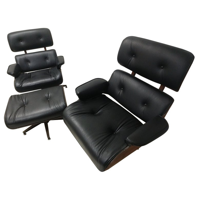 Pair of Mid Century Eames Style Lounge Chairs & Ottoman Selig For Sale