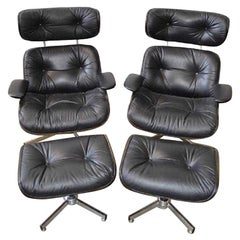Pair of Eames Style Mid-Century Modern Lounge Chairs with Matching Ottomans