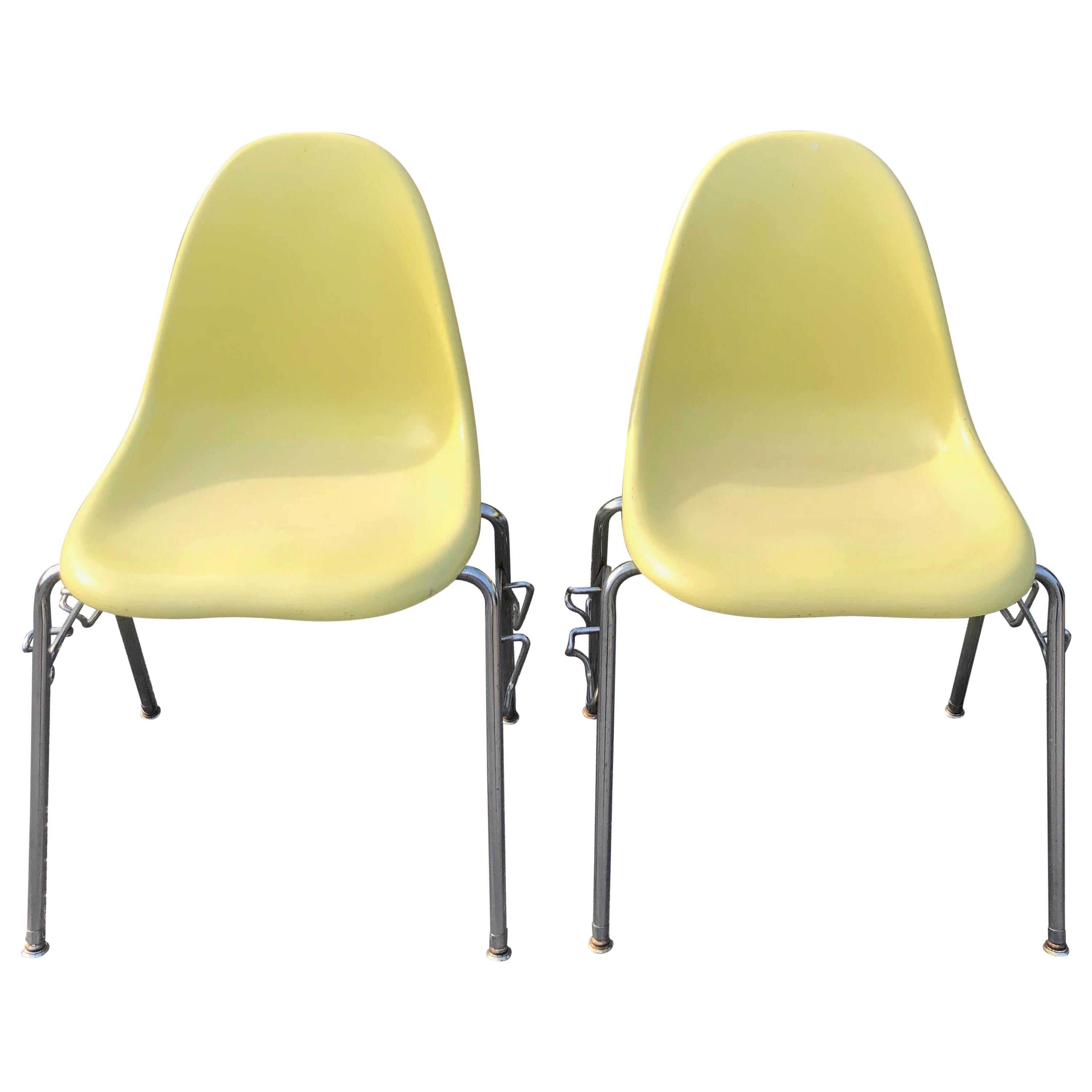 Pair of Eames Style Yellow Fiberglass Shell Chairs by Techfab