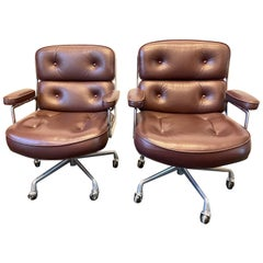 Vintage 1980s Eames Time Life Executive Leather and Aluminum Chairs