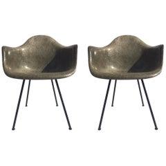 Pair of Eames Zenith Rope Edge Armchairs in Elephant Hide Grey Herman Miller