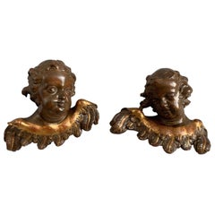 Pair of Early 1800s Hand Carved & Hand Painted Angels or Putti for Wall Mounting