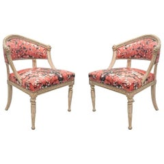 Pair of Early 19th Century Baltic Neoclassic White-Painted Swedish Chairs