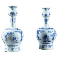 Pair of Early 18th Century Dutch Delft Knobble Vases
