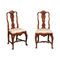 Pair of Early 18th Century Dutch Queen Anne  Marquetry Inlaid Side Chairs