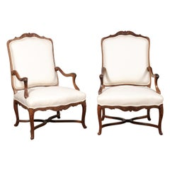 Pair of Early 18th Century French Régence Walnut Armchairs with New Upholstery