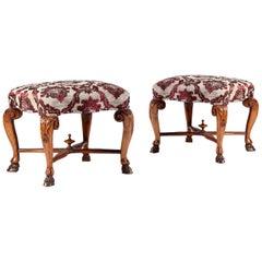 Pair of Early 18th Century Italian Rococo Walnut Stools