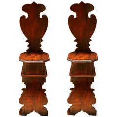 Pair of Early 18th Century Renaissance Style Sgabello Hall Chairs