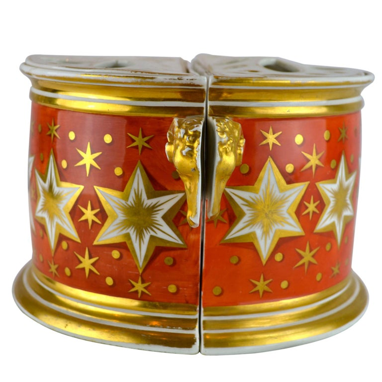 Hand-Painted Pair of Early 19th Century English Worcester Orange Ground Gilded Star Bough Pot For Sale