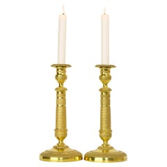 Pair of Early 19 Century French Empire Gilt Bronze Neoclassical Candlesticks