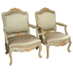 Pair of Early 19 Century Louis XVI Style Parcel-Gilt & Paint Decorated Armchairs