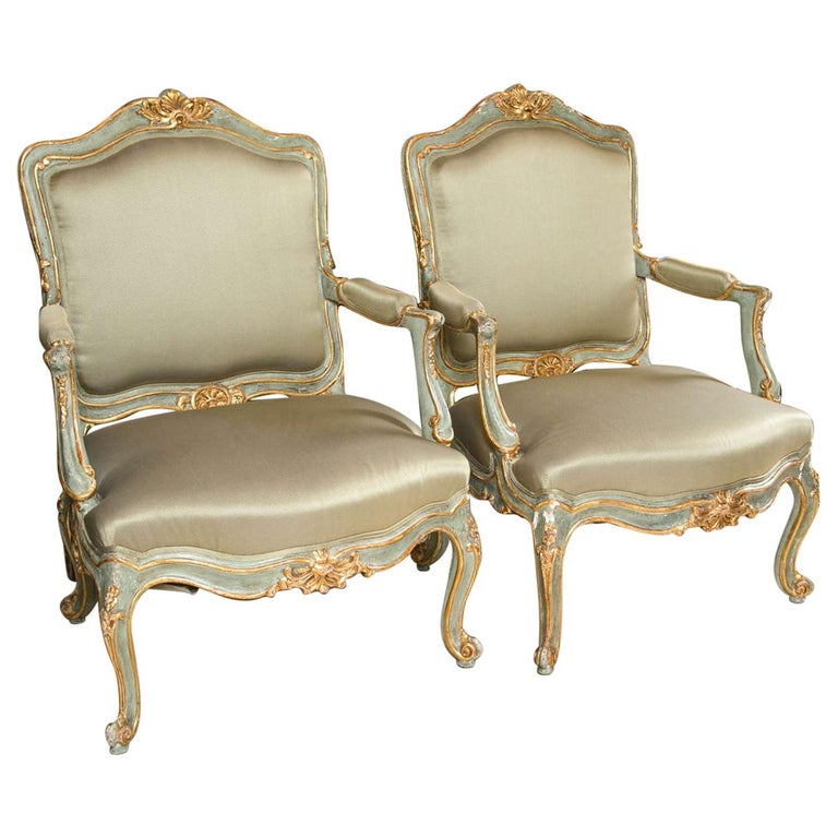 Pair of Early 19 Century Louis XVI Style Parcel-Gilt & Paint Decorated Armchairs For Sale