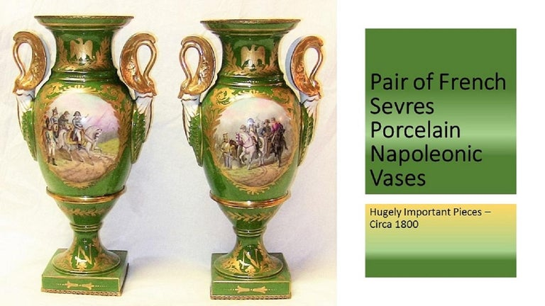 PRESENTING an ABSOLUTELY AMAZING Pair of French Sevres Porcelain Napoleonic Vases from the Late 18th Century or Very Early 19th Century, circa 1800. These 2 vases are in the shape of double swan handled, open or unlidded urns. They were made by the