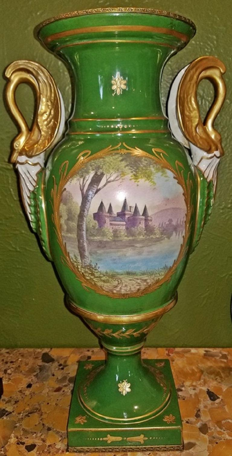 Pair of Early 19 Century Sevres Porcelain Napoleonic Vases In Excellent Condition For Sale In Dallas, TX