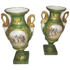 Pair of Early 19 Century Sevres Porcelain Napoleonic Vases