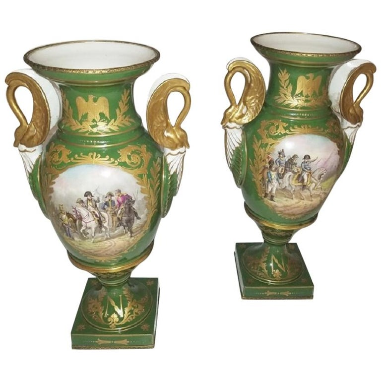 Pair of Early 19 Century Sevres Porcelain Napoleonic Vases For Sale