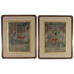 Pair of Early 1900s Asian Watercolors Mounted in Custom Frames