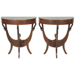 Pair of Early 1900s Half Round Tables