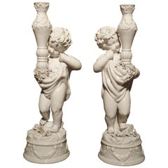 Pair of Early 1900s Italian Ceramic Cherub Candleholders