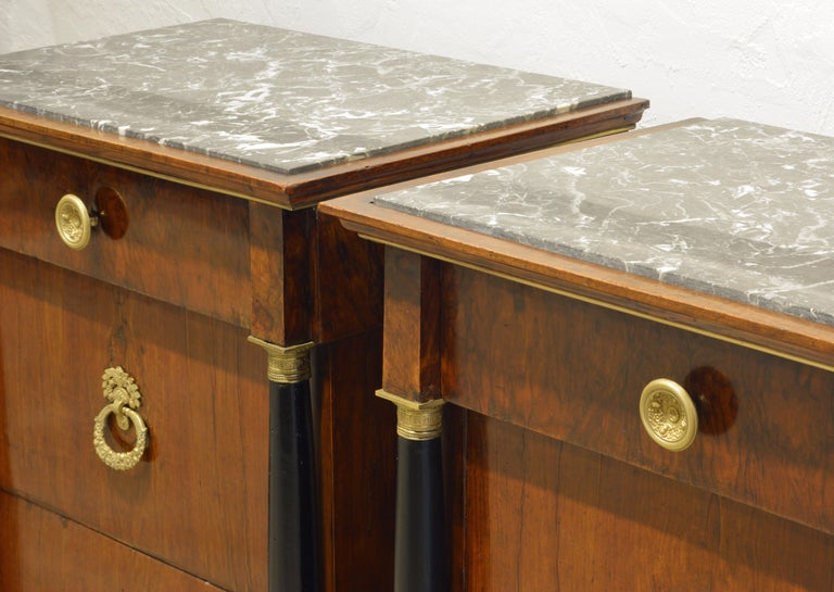 Early 19th Century, Pair Italian Marble Top Gilt Bronze Mounted Empire Commodes 1
