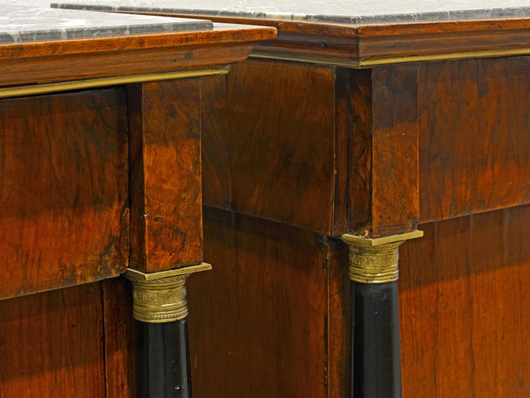 Early 19th Century, Pair Italian Marble Top Gilt Bronze Mounted Empire Commodes 3